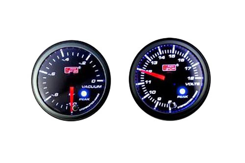 オートゲージ 2点セット 2連メーター 電圧計 バキューム計 オートゲージ 60Φ 追加メーター PK ワーニング機能・ピーク機能付き付【電子式】 スモークレンズ 60mm ホワイト アンバーLED led AutoGauge 送料無料 60PKVAB 60PKVOB