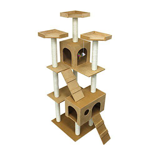 キャットタワー 据え置き 爪とぎ 猫 タワー ねこタワー 猫タワー ベージュ おもちゃ付き PT0007A