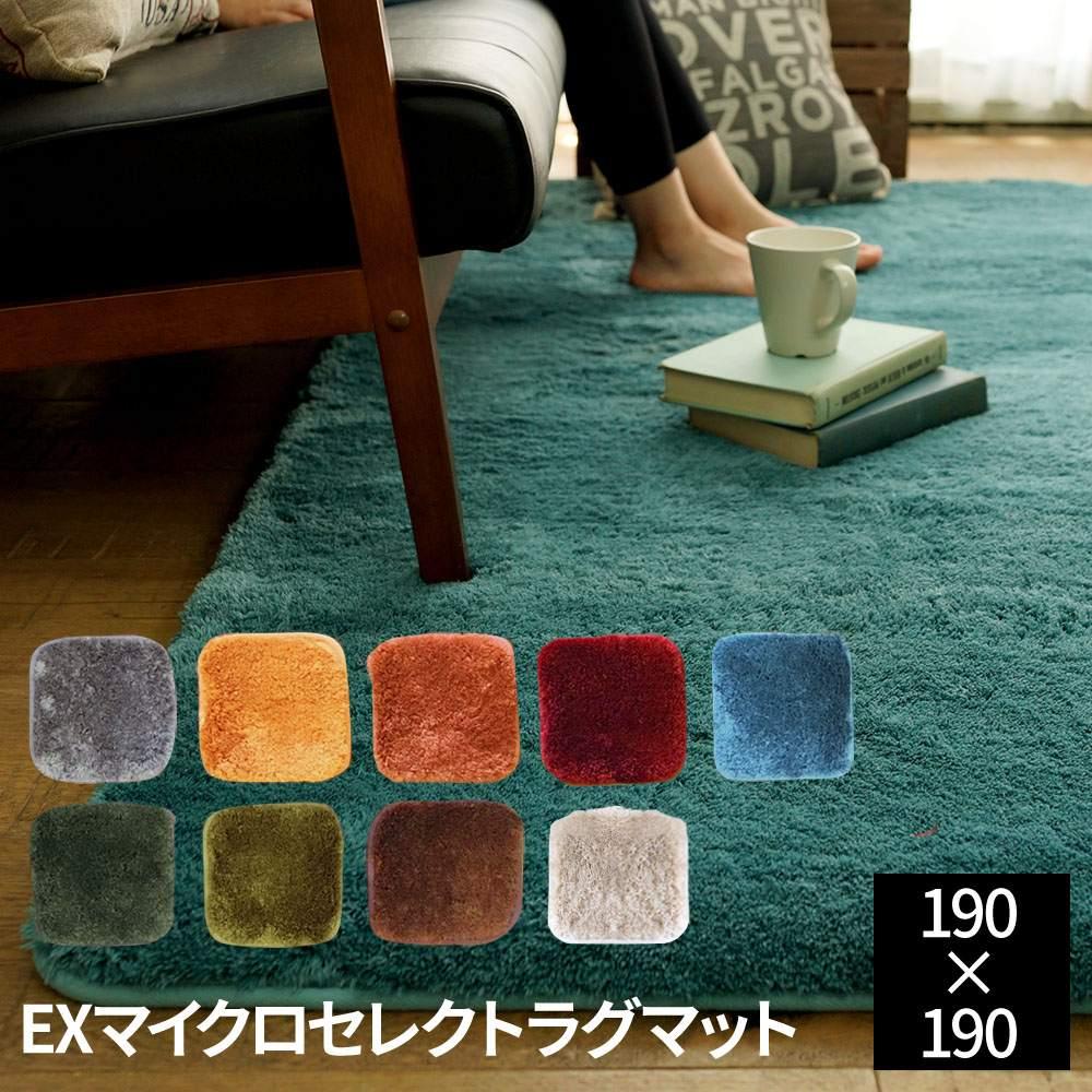 EXマイクロセレクトラグマットCM-200 (190×190cm)[ncd] ラグ ラグマット 洗える ふかふか やわらか 色 カラー オールシーズン すべりにくい 正方形 おしゃれ
