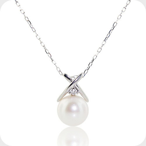 ダイヤモンド アコヤ真珠 ネックレス ホワイトゴールド ダイヤ パール ネックレス 誕生石 6月 4月 10金 K10レディース 女性 コンビニ受取対応商品 誕生日 プレゼント 母の日