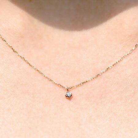 ダイヤモンド ネックレス ピンクゴールド 一粒 ダイヤ ネックレス 4月 誕生日 10金 K10レディース 女性 コンビニ受取対応商品 誕生日 プレゼント