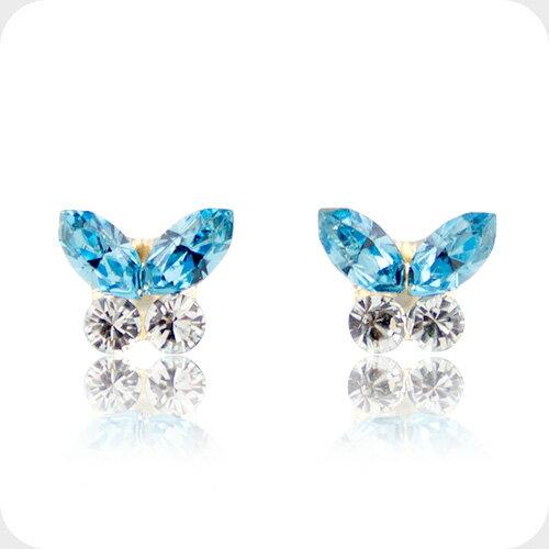 f2e501c4f5b11 Swarovski blue butterfly earrings K18 yellow gold-ladies Jewelry Museum  birthday / pairs