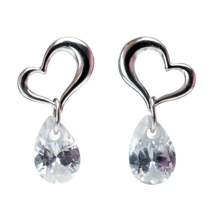 10 Swinging Open Heart Earrings Drop Cubic Zirconia Gold White Las Jewelry Museum Pairs