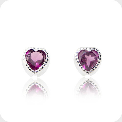 Natural Rhodolite Garnet January Birth Stone Heart Stud Earrings K10 White Gold And Las Jewelry