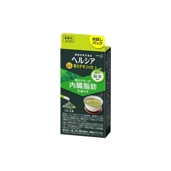 内臓脂肪を減らす茶カテキン配合 ヘルシア 茶カテキンの力 緑茶風味 3.0g×6本入り 機能性表示食品 価格 KO ●日本正規品● 花王