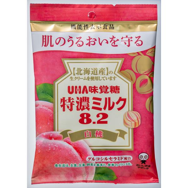 UHA味覚糖 機能性表示食品 特濃ミルク8.2 白桃 84g×72袋入り (1ケース) (YB)
