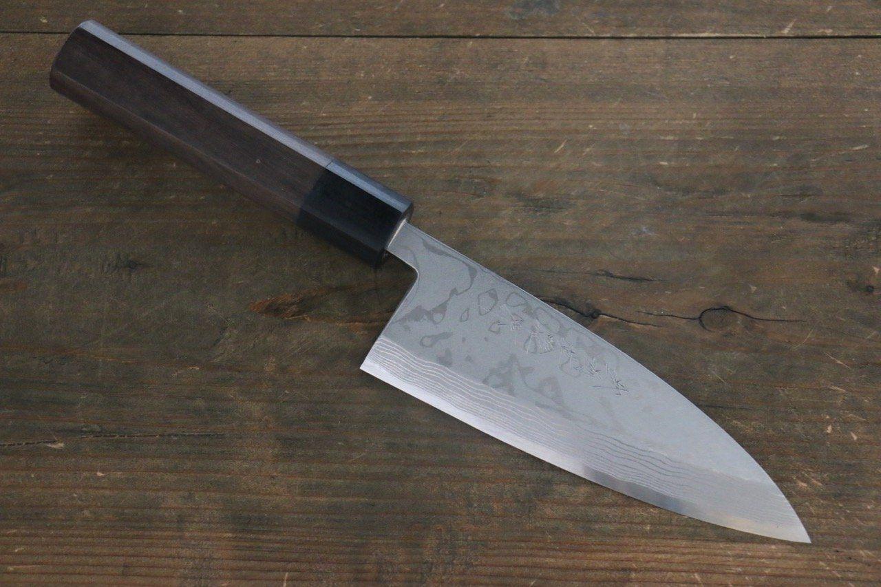 気持ちよいほど切れる 片刃包丁 北岡 英雄 白ニ鋼 ダマスカス 2020 時間指定不可 紫檀柄 出刃包丁 150mm