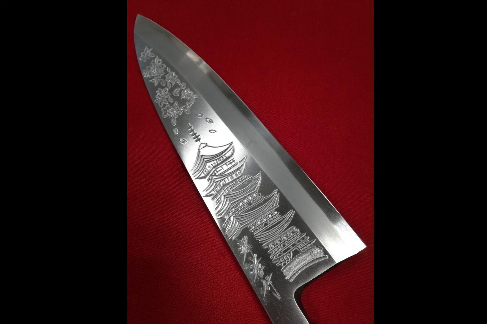 堺孝行霞研白鋼五重塔の彫刻入り出刃包丁和包丁-240mm