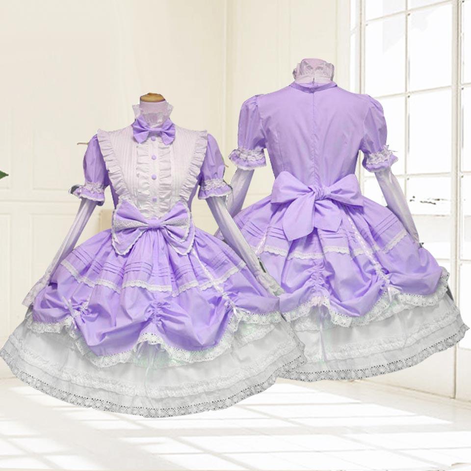 ゴスロリ ロリータ ワンピース メイド 衣装 かわいい 5色展開 バニエ付き