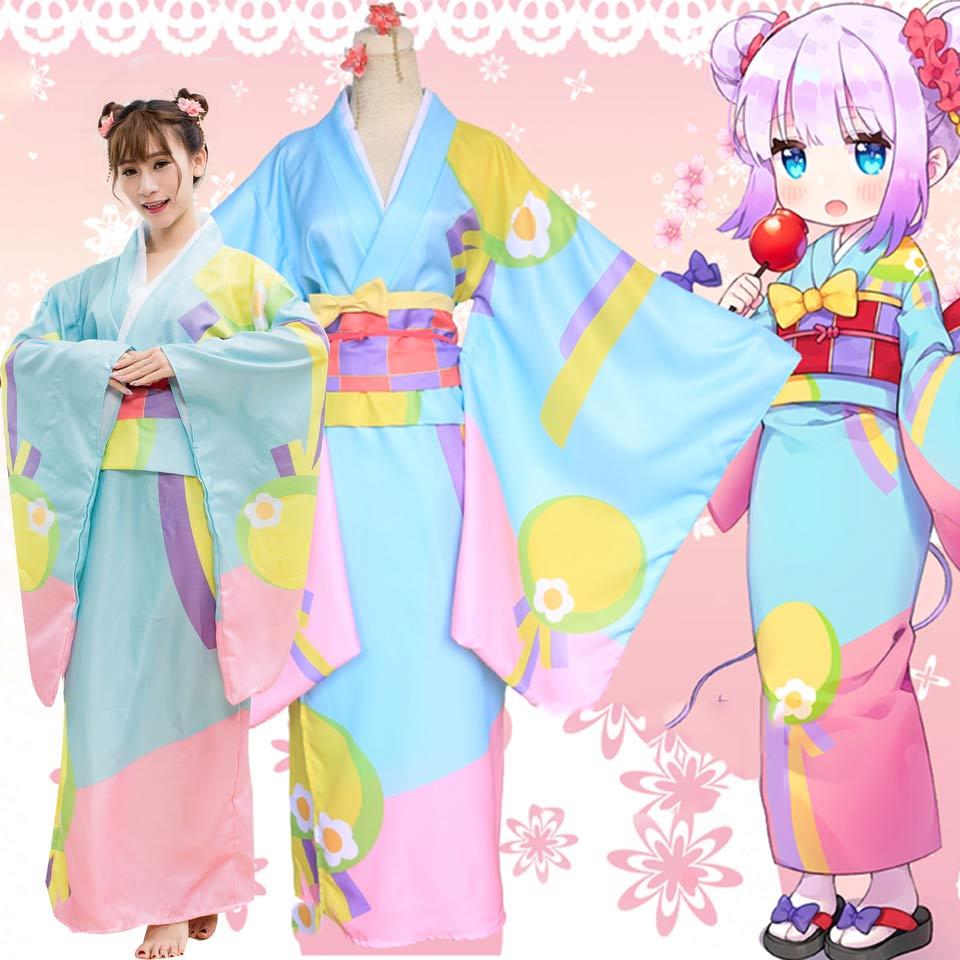 コスプレ 小林さんちのメイドラゴン カンナ 着物 浴衣 コスプレ衣装 4点セット