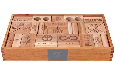 【送料無料】 ポーランド 木製玩具 積み木 Wooden Story(ウドゥン・ストーリー) ピース・アンド・ラブ・ブロック(72pcs)