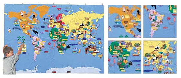 【送料無料】 布製遊具/ジャンボ世界地図