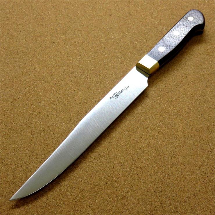 関の刃物 送料無料限定セール中 カービングナイフ 20cm 200mm 超人気 8Aステンレス鋼 真鍮口金付き 訳あり 在庫処分品 ローストビーフなどの肉の塊を切り分けるのに使われる両刃のナイフ ローズウッドハンドル 国産日本製