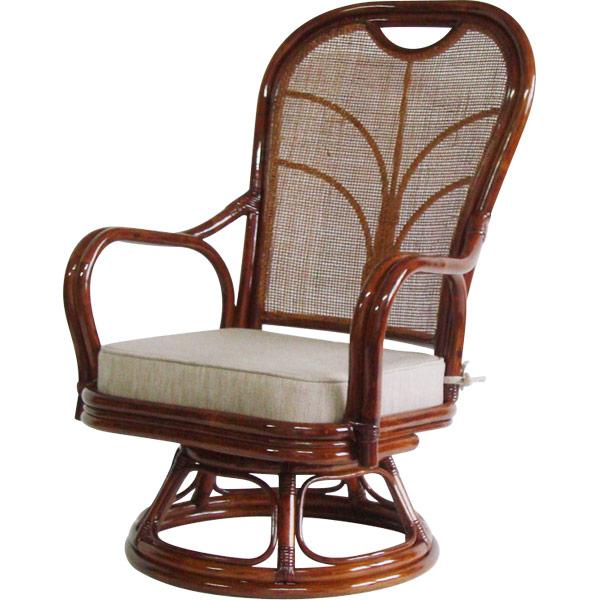 【直送】【代引・日時指定不可】大竹産業 籐ハイバック回転座椅子 座面高さ32cm OT-306-32*2【沖縄・離島配送不可】
