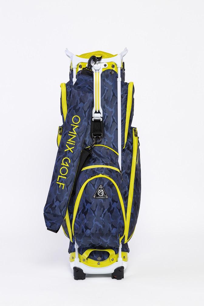 世界初 組立 折り畳み式キャディーバッグ オムニックスゴルフ ブルー×イエロ ハイクオリティ OCCA0103WN キャディーバッグ 中古