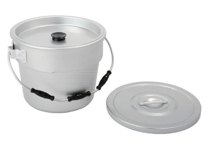 アカオ 丸型二重食缶 12L 給食関連 アルミ アルマイト 【日本製 業務用 料理運搬 給食用 運搬容器 食函】 アカオアルミ株式会社 AKAO