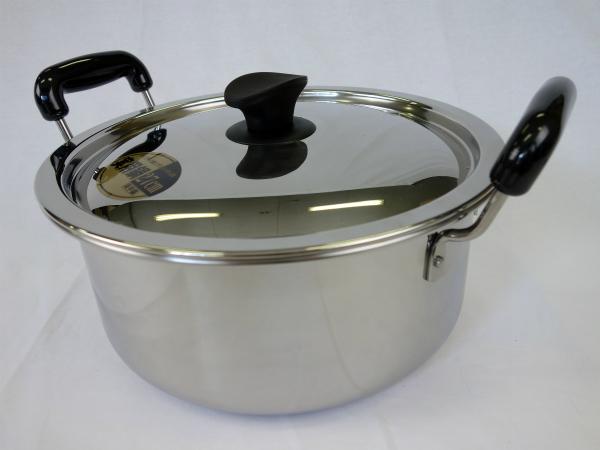 ステンレス プロ用 煮込み鍋 39cm IH対応 <お玉・箸が置ける便利な取手付き>