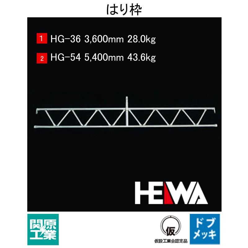 【足場・建築資材】ヘイワビルダー 梁枠 HG【品番 HG-36 /規格 2軒(3600mm)用トラス / 重量 28.7kg】