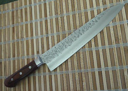 槌目ダマスカス鋼 VG10ダマスカス鋼牛刀 包丁240mm 茶合板ハンドル多層鋼 日本製 関製