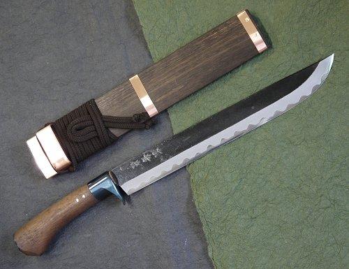 小松広氏 広吉作乱れ刃鍛造 黒打 剣鉈1尺 300mm 青紙鋼割込