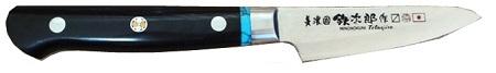 HIRO KNIVES(ヒロナイブズ)美濃國 鉄次郎作鎚目 ダマスカスミラー仕上げ黒マイカルタ ターコイズインレーパーリングナイフ 80mm【HIRO-TETU-PA】【10010897】