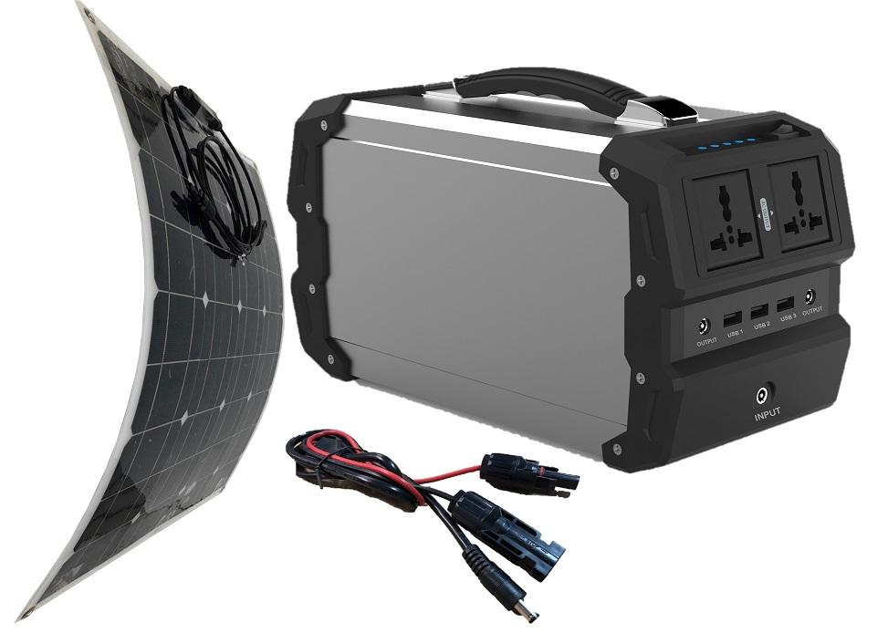 ポータブル電源 充電ソーラー付 最大400W パワー 大容量 360Wh/97600mAh&フレキシブルソーラーパネル50W 最大電力使用容量400Wのポータブル電源と折り曲げ可能な次世代パネルのセット。簡単発電で家庭用コンセント USBに出力。
