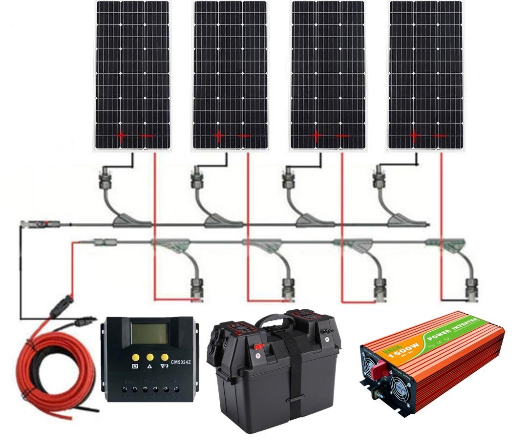 ポータブル電源 自家用電源セットソーラー400W+高性能12V1500W正弦波インバーター+充電コントローラ50A+話題のバッテリーBOX(バッテリー別)ソーラー電源をAC100V/110Vで使用
