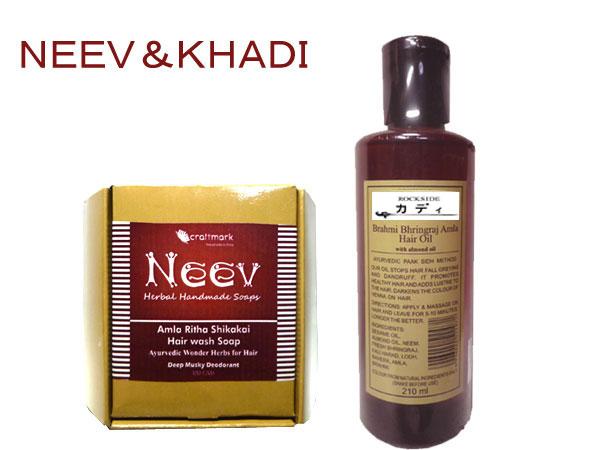 【Complete natural products】  アーユルヴェーダ ニーブ&カーディ ヘアケア(ヘアウォシュソープ&ヘアオイル) AYURVEDA NEEVKHADI HAIR CARE