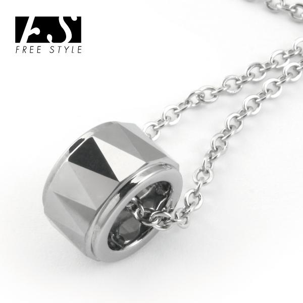 【送料無料】【Free Style】トライアングルカットタングステンリングペンダント シルバーカラー [ペンダント][ネックレス]