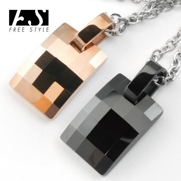 【送料無料】【Free Style】スクエアカットタングステンミニプレートペンダント ブラックカラー ピンクゴールドカラー[ペンダント][ネックレス]