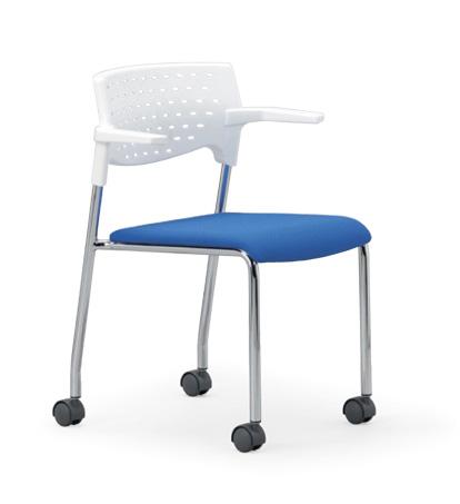 【送料無料】スタッキングチェア MC-232Wクロームメッキタイプ 【素材・カラー選べます】オフィス家具 会議 チェア/椅子ホワイトシェル仕様/肘付き/キャスター付き