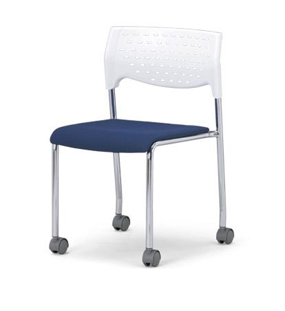 【送料無料】【4脚セット】スタッキングチェア MC-231Wクロームメッキタイプ 【素材・カラー選べます】オフィス家具 会議 チェア/椅子ホワイトシェル仕様/キャスター付き