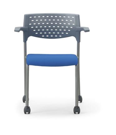 【送料無料】【4脚セット】スタッキングチェア粉体塗装タイプ 【素材・カラー選べます】オフィス家具 会議 チェア/椅子グレーシェル仕様/肘付き/キャスター付き