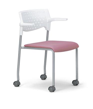 【送料無料】【4脚セット】スタッキングチェア MC-222W粉体塗装タイプ 【素材・カラー選べます】オフィス家具 会議 チェア/椅子ホワイトシェル仕様/肘付き/キャスター付き