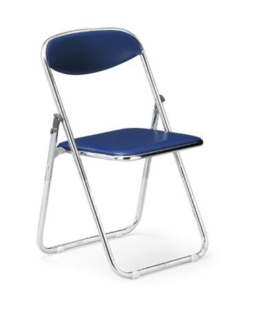 【送料無料】折畳みパイプ椅子クロームメッキタイプスライド式ビニールレザー張り【カラー選べます】オフィス家具 会議 チェア/椅子ミーティング・会議・集会に最適