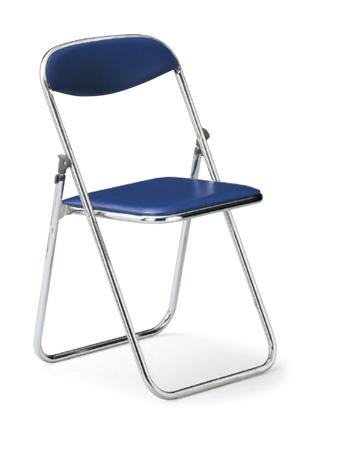 【6脚セット】【送料無料】折畳みパイプ椅子クロームメッキタイプスライド式ビニールレザー張り【カラー選べます】オフィス家具 会議 チェア/椅子ミーティング・会議・集会に最適