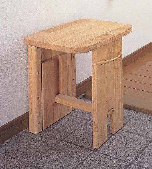 シロクマ 収納いす(集成材) 座面高480mm [ 収納 折りたたみ 折り畳み 木材 玄関 イス ]