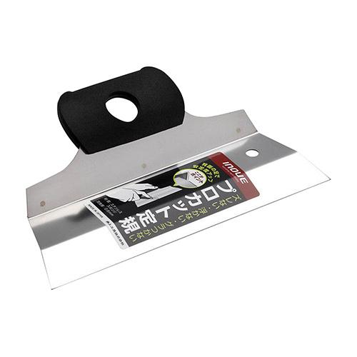大工道具 値下げ 左官鏝のスクレーパー ヘラ200MM クロス 絨毯 床材 イノウエ しっかり押えが効いて固定できます フィルム等をカットするステンレス製定規 200mm 新作製品、世界最高品質人気! 背面の足が安定させるので Proカット定規200
