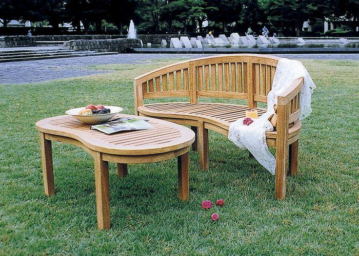 チーク バナナテーブルとベンチの2点セット [ ガーデンファニチャー ガーデンチェア ガーデンテーブル 木製 家具 椅子 イス テラス 庭 バルコニー diy 通販 ]
