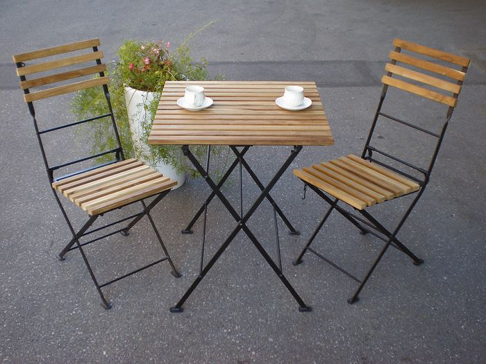 folding iron teak table and 2 chairs 3 piece set garden furniture garden chair garden - Garden Furniture 3 Piece