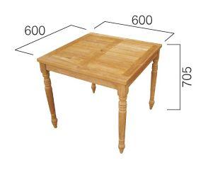 コンビネーションテーブル正方形天板0606型+丸脚70  W600×H705 [ ガーデンファニチャー ガーデンテーブル 木製 家具 椅子 イス テラス 庭 バルコニー diy 通販 ]