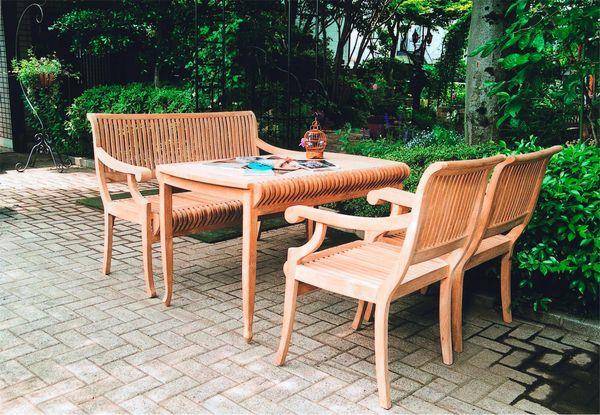 チーク カステルテーブル4点セット [ ガーデンファニチャー ガーデンチェア ガーデンテーブル 木製 家具 椅子 イス テラス 庭 バルコニー diy 通販 ]