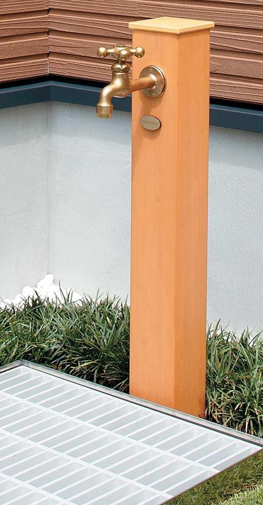 624 162 Faucet Pillar Resin Tree W85 X D85 H900mm Water Prefectural Cover Metal Ings Exterior Garden