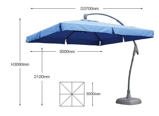300 Beige Side Pole Umbrellas