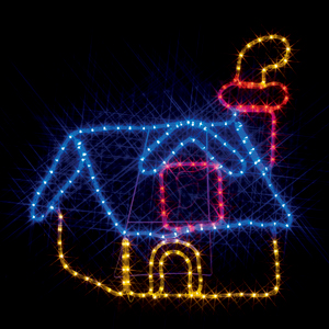 ※代引き不可※【LEDモチーフ 煙突のある家(全点灯) 連結タイプ】 SJ-A19-N