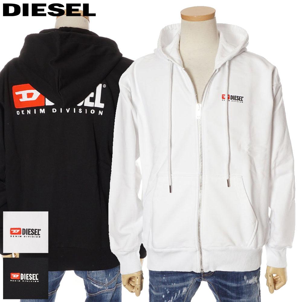 ディーゼル DIESEL ジップ パーカー メンズ オーバーサイズ ホワイト/ブラック XS/S/M/L 00SY87 0CATK