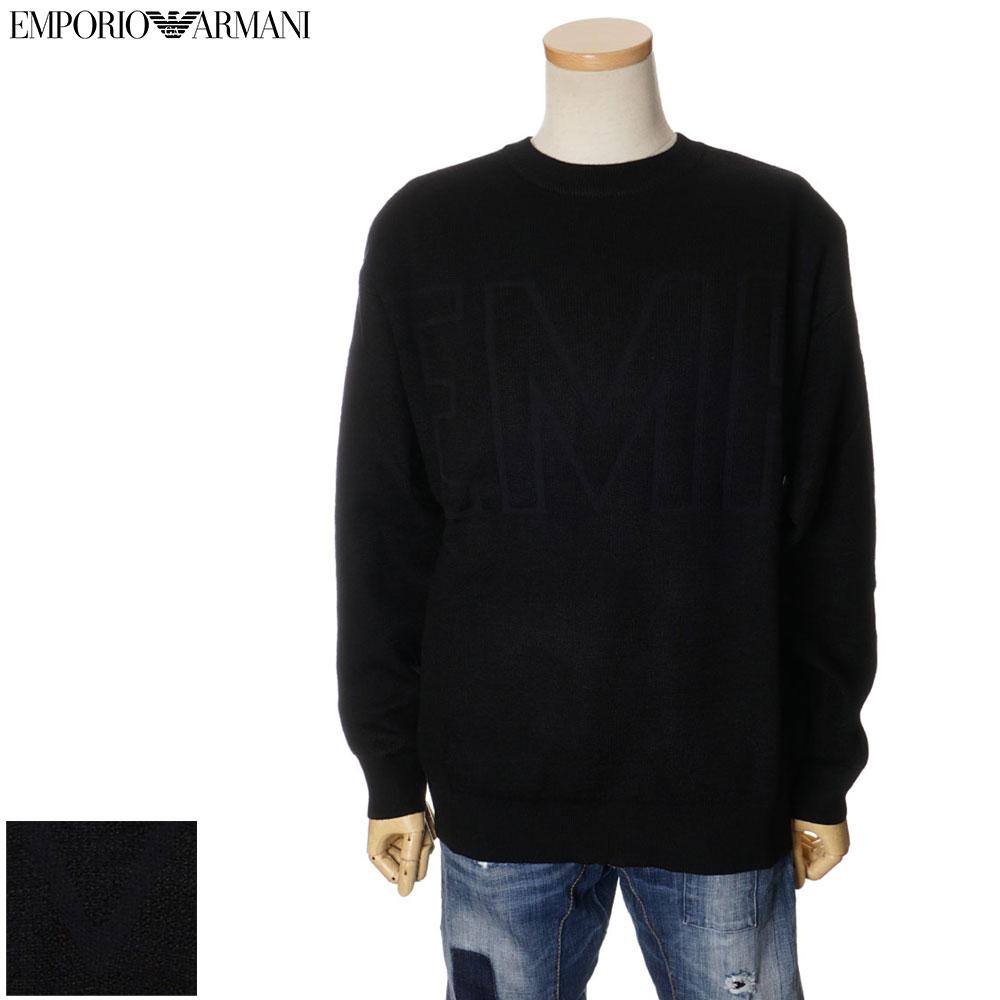 エンポリオ アルマーニ EMPORIO ARMANI クルーネックセーター ウール オーバーサイズ メンズ ブラック S/M/L/XL/2XL/3XL 6G1MY6 1MYQZ
