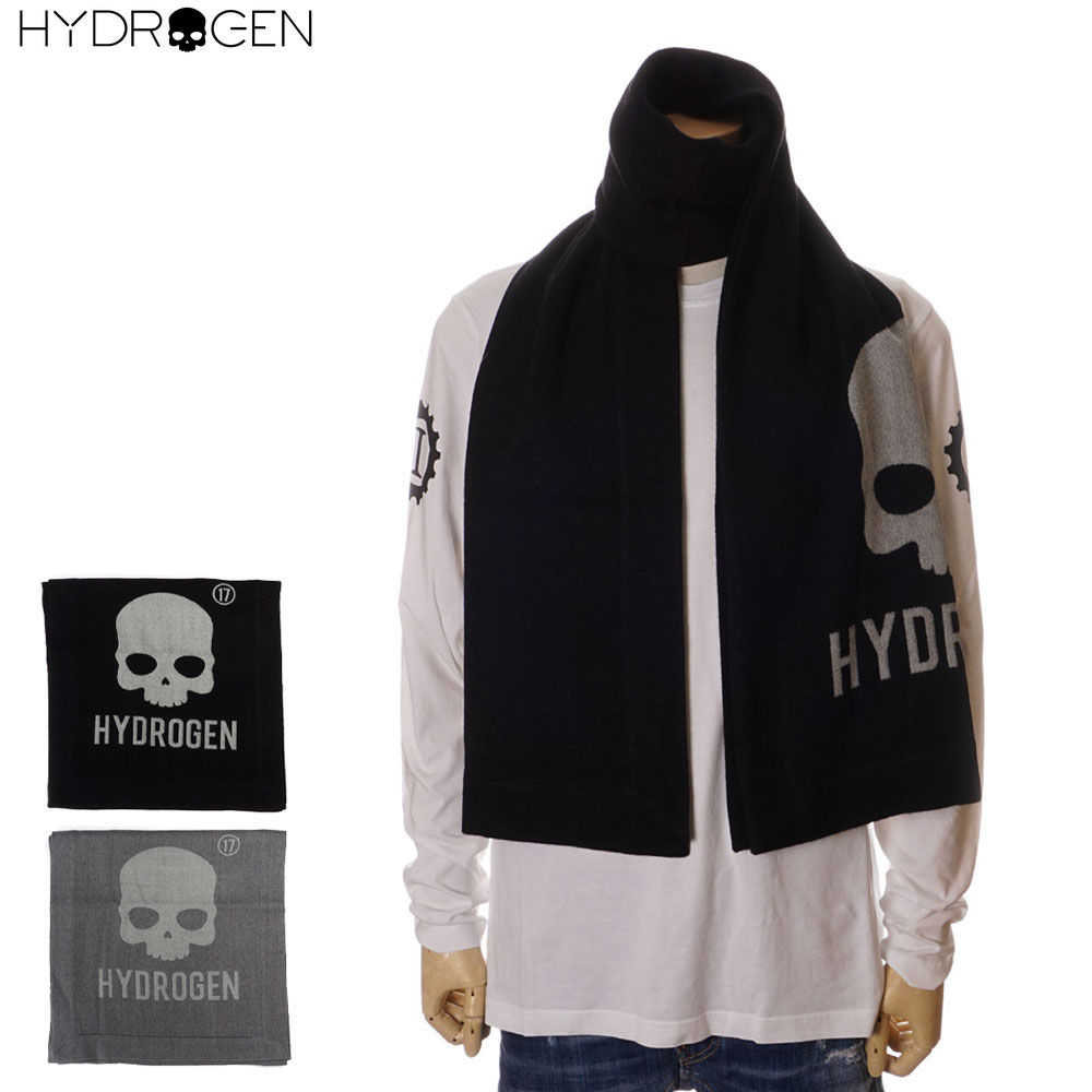 ハイドロゲン HYDROGEN 大判 マフラー メンズ ブラック/グレー フリー 253100