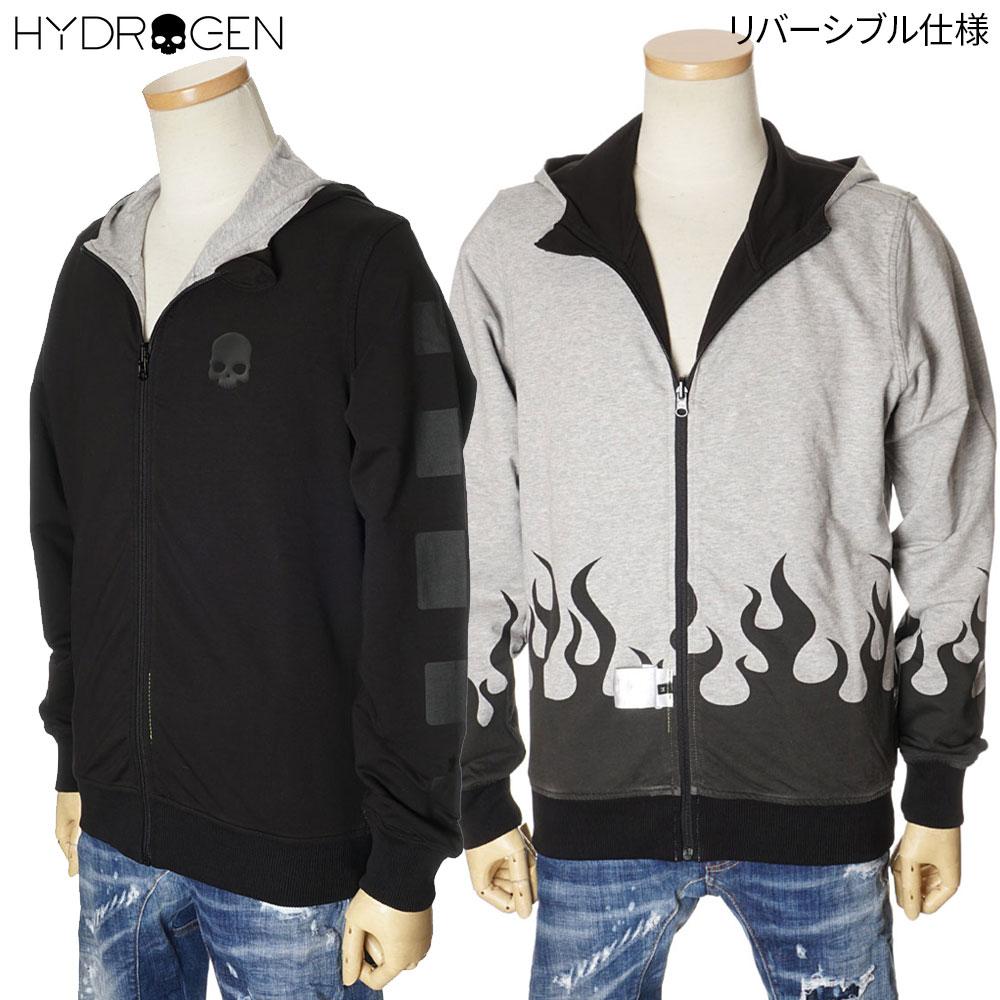 ハイドロゲン HYDROGEN リバーシブル ジップパーカー スウェット メンズ ブラック×グレー S/M/L/XL/2XL/3XL 250630