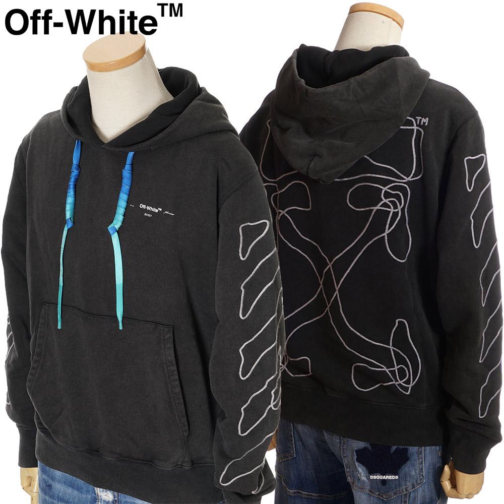 オフホワイト OFF WHITE プルオーバーパーカー スウェット メンズ ブラック S/M/L/XL OMBB034F19E30011